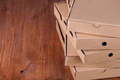 Cardboard  pizza boxes Royalty Free Stock Photos