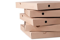 Cardboard  pizza boxes Royalty Free Stock Image