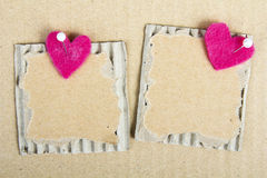 Cardboard plaques and felt hearts. Cardboard plaques and pink felt hearts - Valentine background stock photos
