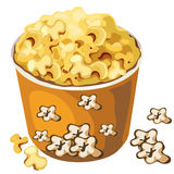 Cardboard popcorn bucket. Vector food isolated. Cartoon style. Illustration on a white background for your design needs Royalty Free Stock Images