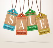 Cardboard price tags sale labels Stock Photos