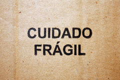 Cardboard pt-br text. Brazilian text written on cardboard Royalty Free Stock Images
