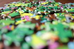 Scattered puzzles from close range royalty free stock images