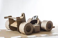 Cardboard racing car Stock Photos