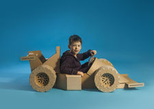 Cardboard racing car Stock Photo