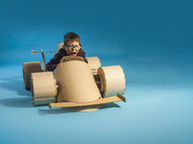 Cardboard racing car Royalty Free Stock Photography