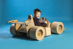 Cardboard racing car Royalty Free Stock Images