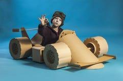 Cardboard racing car Stock Photography