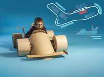 Cardboard racing car Stock Image