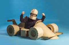 Cardboard racing car Royalty Free Stock Photo