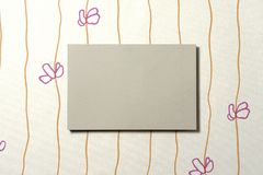Cardboard rectangle on wallpaper 01 Stock Images