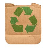 Cardboard with recycle symbol Royalty Free Stock Photos