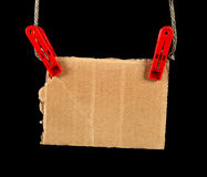 Cardboard on the Rope Royalty Free Stock Photos