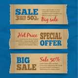 Cardboard sale banners set Stock Photos