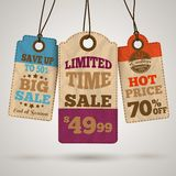 Cardboard sale promotion tags Stock Photography