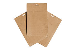 Cardboard sheets. Three empty cardboard sheets isolated on white Royalty Free Stock Photography