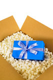 Cardboard shipping box, blue surprise gift inside, polystyrene packing pieces, vertical Stock Photos