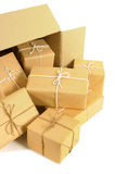 Cardboard shipping box with several brown paper packages inside Royalty Free Stock Photo