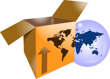Cardboard shipping box with word map Royalty Free Stock Photo