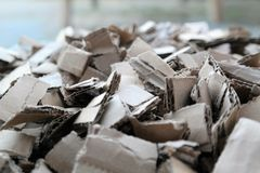 Cardboard shreds. A pile of cardboard shreds Stock Photography