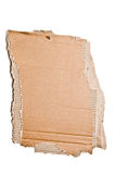 Cardboard sign. A blank torn cardboard sign isolated on white Royalty Free Stock Photos