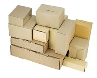 Cardboard small boxes of industrial design Royalty Free Stock Photo