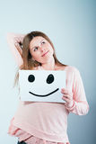 Cardboard with a smiley face Royalty Free Stock Photography