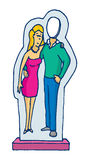 Cardboard stand up couple figure with missing man. Cartoon illustration of cardboard stand up couple with absent man Stock Photo