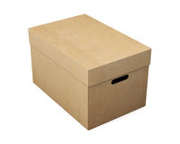 Cardboard storage box on white background. 3d rendering.  Royalty Free Stock Photography