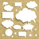 Cardboard Structure With Paper Speech Bubble, Vector Illustration. Grunge Background Stock Photography