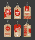 Cardboard Summer Sales Labels Stock Images
