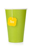 Cardboard tea cup with teabag Royalty Free Stock Photo