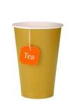 Cardboard tea cup with teabag Stock Photo