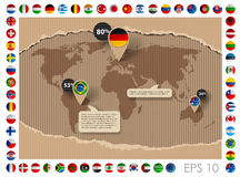 Cardboard template with world map and flags Royalty Free Stock Images