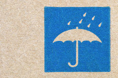 cardboard texture with umbrella and rain sign Stock Photography