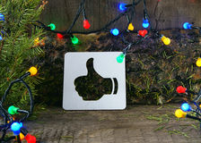 Cardboard thumbs up icon. New Year and Christmas. web icon Royalty Free Stock Images
