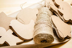 Cardboard toys for the Christmas tree or garland. Royalty Free Stock Images