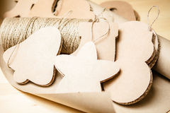 Cardboard toys for the Christmas tree or garland. Royalty Free Stock Image