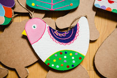 Cardboard toys for the Christmas tree or garland. Royalty Free Stock Photos