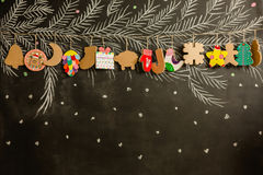 Cardboard toys for the Christmas tree or garland. Stock Photography