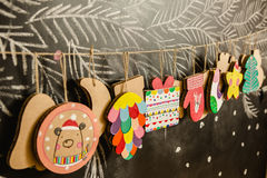 Cardboard toys for the Christmas tree or garland. Stock Photos