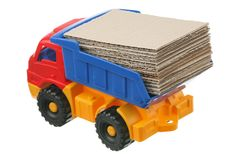 Cardboard in the truck Stock Photos