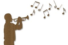 Cardboard Trumpet Player Royalty Free Stock Images
