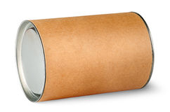 Cardboard tube with metal lids. Isolated on white background stock images
