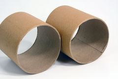 Cardboard tubes. A pair of cardboard tubes side by side royalty free stock photo