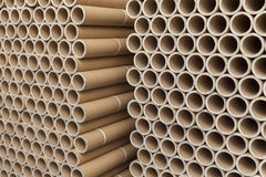 Cardboard tubes on stack. Close up stock photos