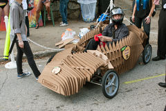 Cardboard Vehicle Driver Ready To Race In Soap Box Derby Stock Image
