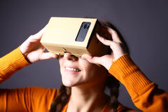 Cardboard virtual reality Royalty Free Stock Photography