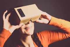 Cardboard virtual reality Stock Images