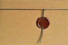 Cardboard and wax seal Royalty Free Stock Images
